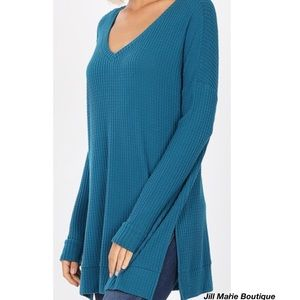 Oversized top tunic waffle knit teal NWT
